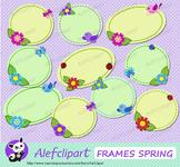 Frames Spring. Frames with flowers. Digital clipart. Clip Instant Download.