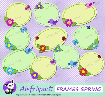 Frames Spring. Frames with flowers. Digital clipart. Clip