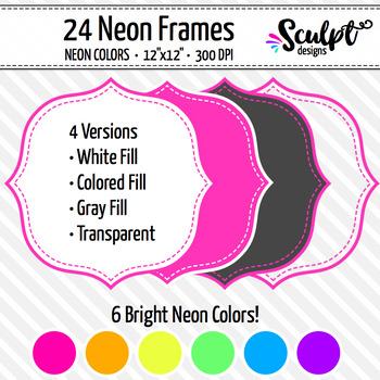 Frames ~ Stitched Bracket Frames ~ Neon Colors