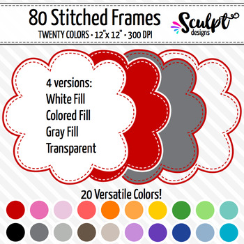 Frames ~ Stitched Cloud Frames ~ Twenty Colors