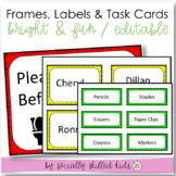 "EDITABLE Frames, Labels, And Task Cards {""Bright & Fun""}"