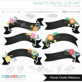 Frames - Ribbon Banners (Chalk) Vintage Floral