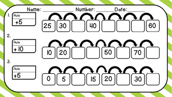 Every Day Math- Frames and Arrows Practice Pack 2 Skip Counting