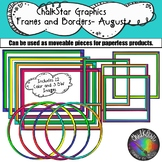 {School} Frames and Borders Clip Art for August- Chalkstar Graphics