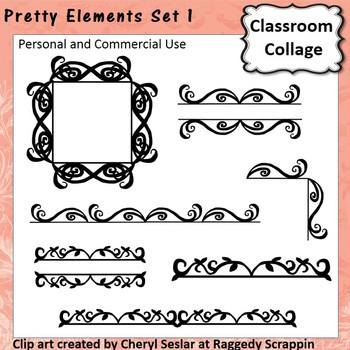 Pretty Elements Set 1 - Black and White - clip art pers/comm  use