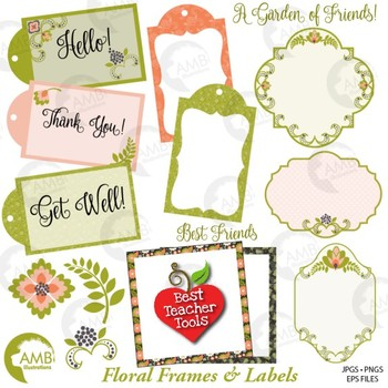 Frames and Tags Clipart, Washi Tape, Card making {Best Teacher Tools} AMB-1809