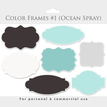 Frames clipart - elegant frames, ornate flourish frames, digital frames, blue