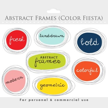 Frames clipart - hand drawn frames, geometric, abstract, ornate frames, digital