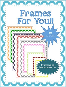 Frames for Cover Pages or Creations 15 Colors png for comm