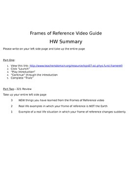 STEM/NGSS: Physics Frames of Reference Video Guide Questions