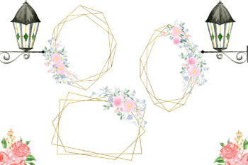 Frames with Delicate Flowers, Wedding Romantic Frame, Pink Flowers & Romantic