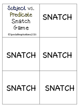 Framing Your Thoughts Subject vs. Predicate SNATCH Game  (Project Read)