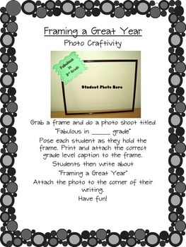 Back to School Framing a Great Year Craftivity