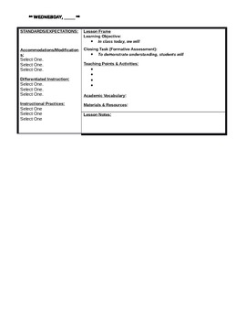 Framing the Lesson Template