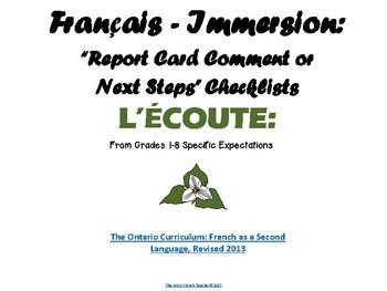 """Français Immersion - """"Report Card Comments or Next Steps"""" Checklists (Language)"""