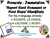 "Français Immersion - ""Report Card Comments or Next Steps"""