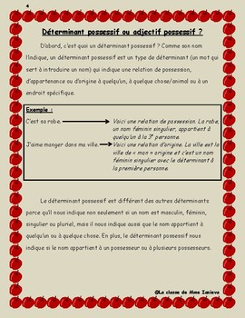 Français: Les déterminants possessifs