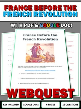 France Before the French Revolution - Webquest with Key (Google Doc Included)