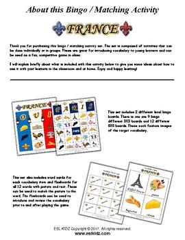 France Bingo Matching Activities