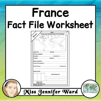 France Fact File Worksheet