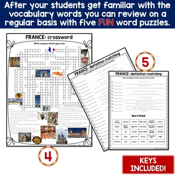 France - Country Symbols: 5 Different Word puzzles and 30 Photo Flash Cards