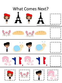 France What Comes Next preschool math game.  Printable daycare curriculum.
