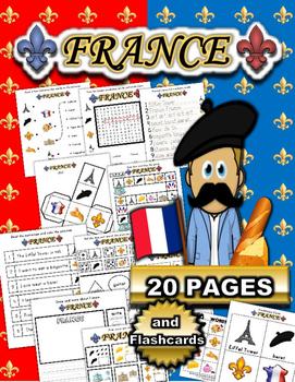 France Worksheet Set / Activity Packet + Flashcards
