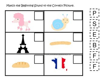France themed Match the Beginning Sound preschool learning game.  Daycare.
