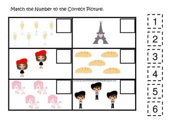 France themed Match the Number preschool learning game.  Daycare curriculum.