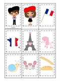 France themed Memory Matching preschool learning game.  Daycare.