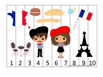 France themed Number Sequence Puzzle preschool learning game.  Daycare.