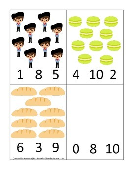 France themed Numbers Clip it Cards preschool math learning activity.