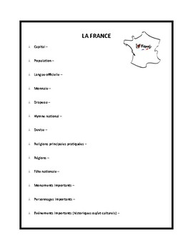france worksheet for beginner learners of french by french rocks. Black Bedroom Furniture Sets. Home Design Ideas