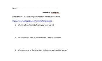 Franchise WebQuest