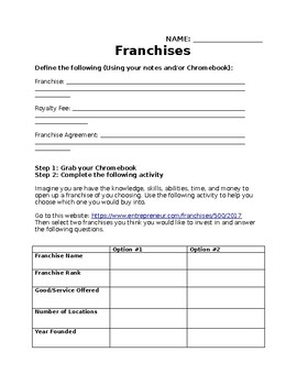 Franchise Worksheet