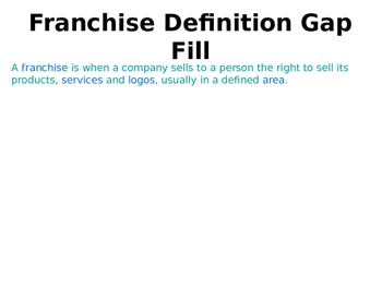 Franchises / Franchising - Pros & Cons - Business Ownership - PPT & Worksheets