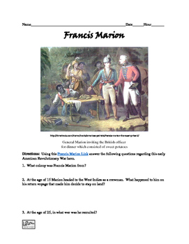 Francis Marion Webquest and Video Clip