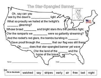 Francis Scott Key - The Star-Spangled Banner- Writing Activity