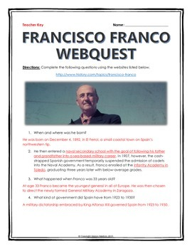 Francisco Franco - Webquest with Key