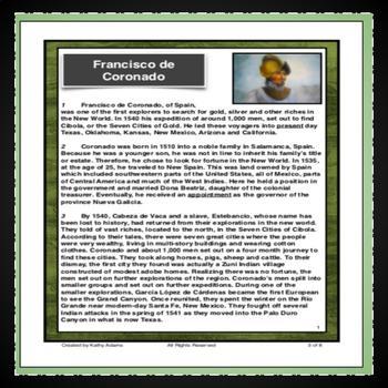 Francisco de Coronado Reading Comprehension