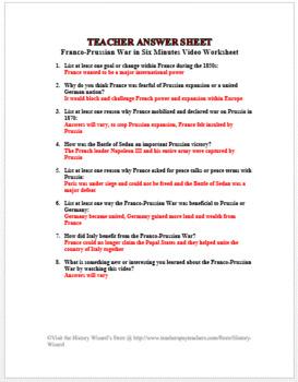 Franco-Prussian War in Six Minutes Video Worksheet