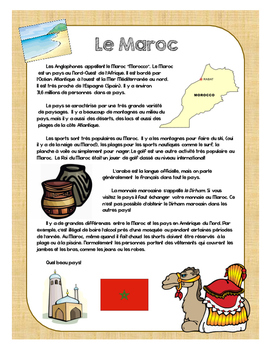 Francophone Culture Reading - Morocco - with questions and mini assignment