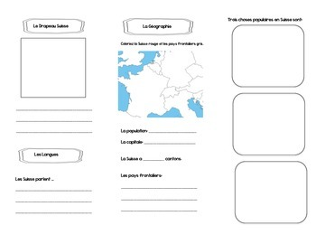 Francophone Culture Reading - Switzerland - with questions and mini assignment.
