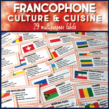 Francophone Countries Bulletin Board Labels and Cultural Webquest Activities