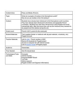 Francophone Medias Research Project Lesson Plan