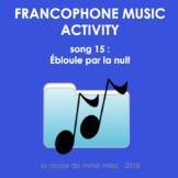 Francophone Music activity - Song 15 - Éblouie par la nuit