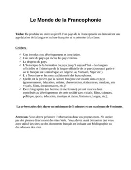 Francophone World Project (la Francophonie)