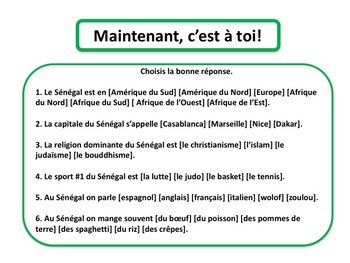 Francophone country, Sénégal, input & comprehension questions, in French