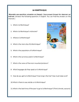 Francophone country, la Martinique, worksheet, French 1 and 2