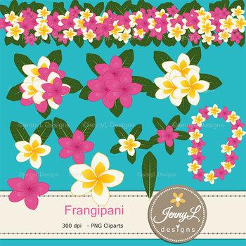 Frangipani Plumeria digital paper and clipart